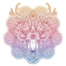 Ornate Deer Head With Beautifu...