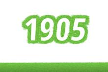 Jahr 1905 - Weiße Zahl 1905 Mit Frischen Gewachsenen Grünen Grashalmen Symbol
