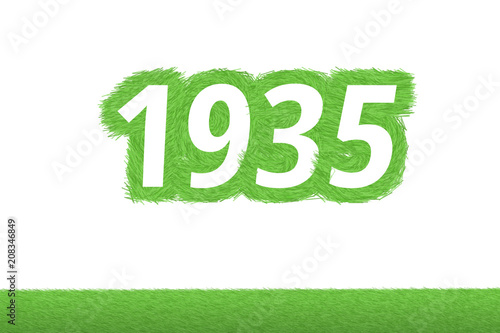 Fotografia  Jahr 1935 - weiße Zahl 1935 mit frischen gewachsenen grünen Grashalmen Symbol