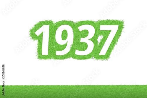 Valokuva Jahr 1937 - weiße Zahl 1937 mit frischen gewachsenen grünen Grashalmen Symbol