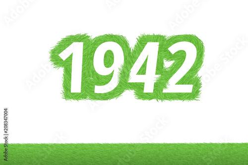 Photo  Jahr 1942 - weiße Zahl 1942 mit frischen gewachsenen grünen Grashalmen Symbol