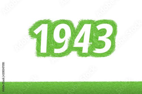 Poster  Jahr 1943 - weiße Zahl 1943 mit frischen gewachsenen grünen Grashalmen Symbol