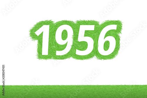 Fototapeta  Jahr 1956 - weiße Zahl 1956 mit frischen gewachsenen grünen Grashalmen Symbol
