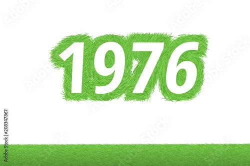 Fotografering  Jahr 1976 - weiße Zahl 1976 mit frischen gewachsenen grünen Grashalmen Symbol