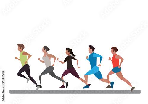 Foto  Group of Marathon Runners on street background