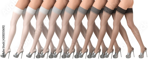 Obraz na plátně  3D illustration colored gradient stockings beautiful legs
