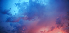 Red Sky With Blue Clouds