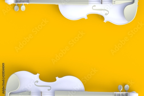 Top view of classical white violin isolated on yellow background, String inst...