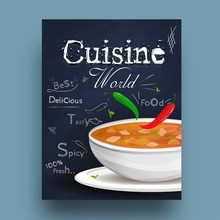 Cuisine World Book Cover Or Recipe Book Cover Design With Spicy And Hot Soup Illustration.