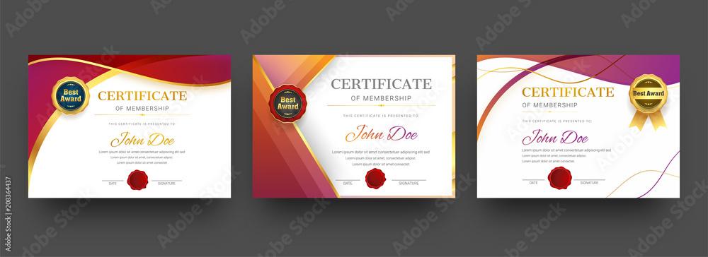 Fototapety, obrazy: Membership certificate best award diploma set.