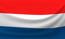 Waving National Flag Of Netherlands. Vector Illustration
