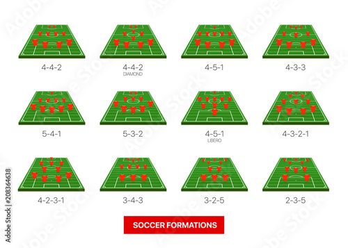 Soccer Formations Vector Collection Isolated On White Infographic Template