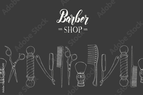 Hand Drawn Barber Shop Seamless Pattern With Doodle Razor