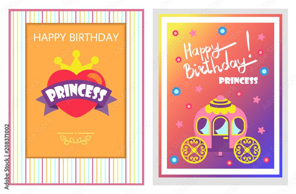 Happy Birthday Cards Set Vector Illustration Foto Poster Wandbilder Bei EuroPosters