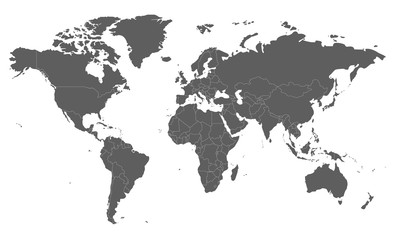 Political blank World Map vector illustration isolated on white background. Editable and clearly labeled layers.