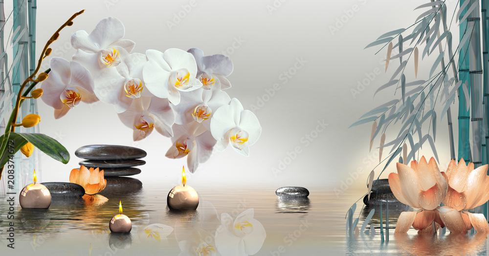 Wandbild mit Orchideen, Steinen und Bambus im Wasser und schwimmenden Kerzen