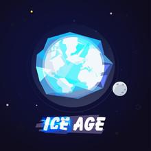 World Globe In Ice Ball. Ice A...