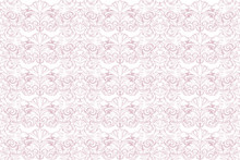 Baroque Background In Light Pink And White. Vintage, Rococo, Damask Patterns With Leaves, Floral Elements