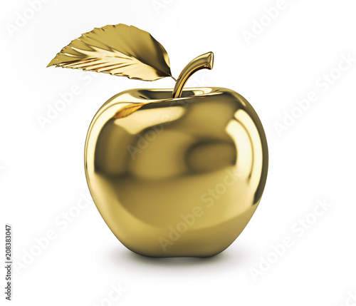 Golden apple isolated on white background