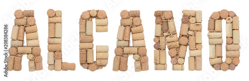 Photo Word Alcamo  made of wine corks Isolated on white background