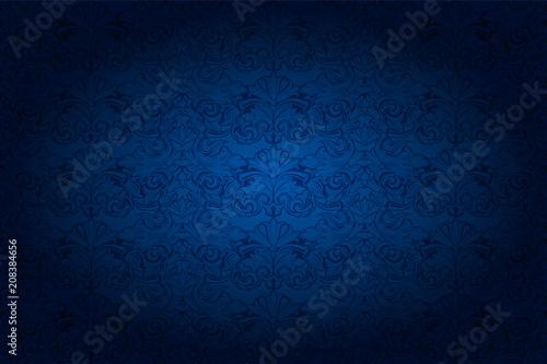 Foto  vintage horizontal background in dark blue ultramarine, with classic Baroque pat