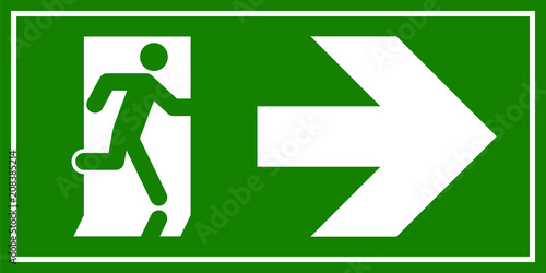 Fotografía  Emergency exit sign. Man running out fire exit
