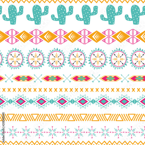 Poster Boho Style Vector tribal ethnic seamless pattern Aztec abstract background Mexican ornamental texture in bright pink orange colors