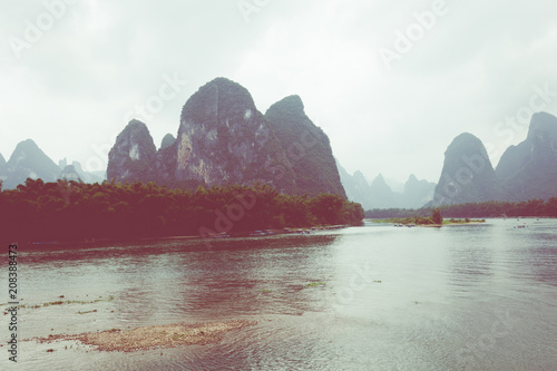 Fotobehang Guilin Landscape of Guilin, Li River and Karst mountains. Located near The Ancient Town of Xingping, Yangshuo County, Guilin, Guangxi, China.