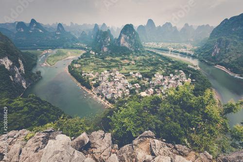 Foto auf Gartenposter Khaki Landscape of Guilin, Li River and Karst mountains. Located near The Ancient Town of Xingping, Yangshuo, Guilin, Guangxi, China.