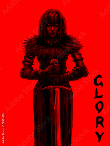 Fotografie, Tablou  Female knight is glorious warrior of the light