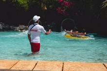 Back View On Lifeguard Who Sho...
