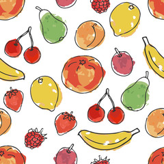 Fruits and berries. Imitation of watercolor. Seamless pattern in doodle and cartoon style. Vector.