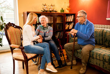 Visit Grandparents At Home And Having Beautiful Time With Them