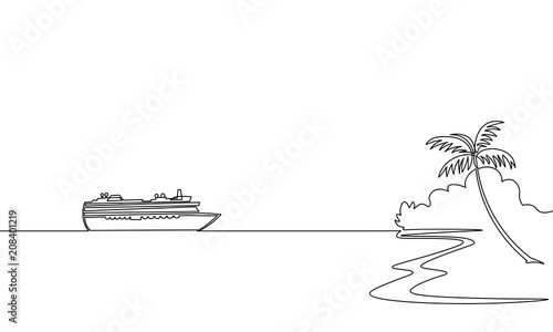 Fotomural Single continuous one line art ocean travel vacation