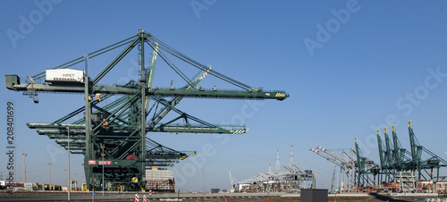 Foto op Plexiglas Antwerpen Deurganckdock, Antwerp Belgium, port for the biggest containerships