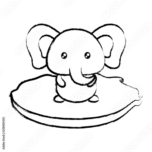 cute elephant in the grass over white background, vector illustration Poster