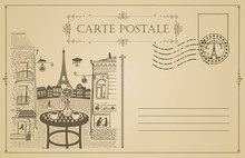 Retro Postcard With Parisian Street Cafe With Views Of The Eiffel Tower And Old Buildings In Paris, France. Romantic Vector Card In Vintage Style With A Rubber Stamp