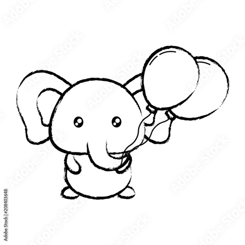cute elephant with balloons  over white background, vector illustration Poster