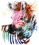 Fototapeta Animals - zebra illustration with splash watercolor texture. rainbow  background for fashion print, poster for textiles, fashion design