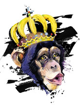 Funny Monkey In The Crown Hand...