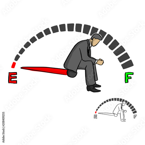 Fotografía  stressed businessman sitting on fuel gauge sign vector illustration sketch doodl