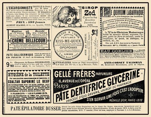 Photographie  Advertising page on La vie Parisienne French satirical magazine, year 1888