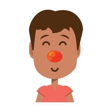 Cartoon Boy With Clown Nose Ic...