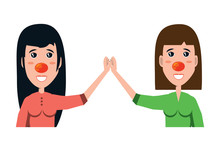 Cartoon Happy Women With Red N...