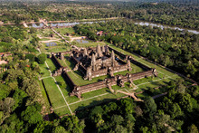 Aerial View Of Angkor Wat Temple, Siem Reap, Cambodia.
