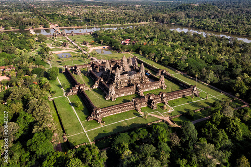 Aerial view of Angkor Wat temple, Siem Reap, Cambodia. Canvas Print