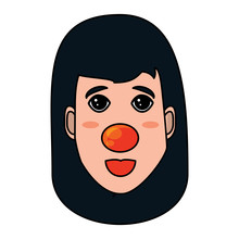 Woman Face With Red Nose Icon ...