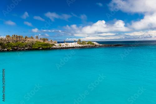Fototapeta premium Krystalicznie czysta turkusowa woda w zatoce wyspy Santa Fe