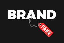 Fake And Counterfeit Copy Is Labeled As Original Brand. Violation And Deception Of Trademark. Illegal Advertising And Business With Imitation, Duplicate And Replica. Vector Illustration