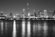 Black and white Chicago waterfront panorama at night, USA.